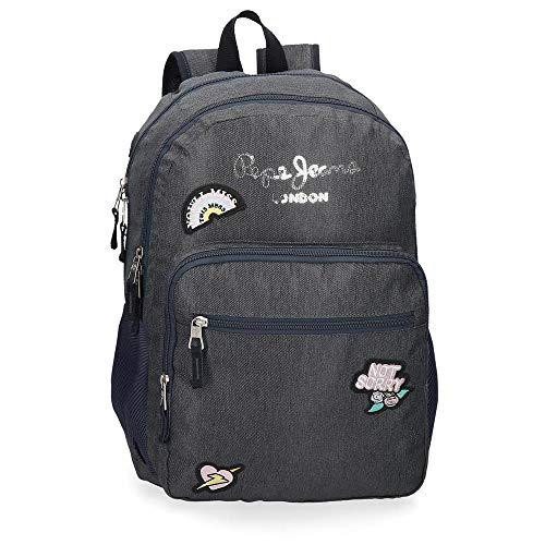 Mochila Escolar Pepe Jeans emi Doble Compartimento Adaptable, Color Azul, 31x46x15 cm