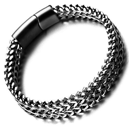 Halukakah Premium  Poder  Hombres Pulsera de Cadena de Titanio Acero Inoxidable Negro Plateado Hecho a Mano Cierre Magnético de Titanio Acero Inoxidable 8.5'(21.5cm) con CajaDeRegaloGRATIS