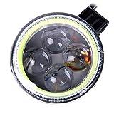 Tuzi Qiuge 10W 6000K 1500LM 4 LED-weiße Motorrad-Scheinwerferlampe mit grünem Winkel-Augenlampe, DC 9-36V QiuGe