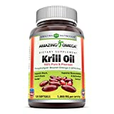 Amazing Omega Krill Oil with Omega 3s EPA, DHA Phospholipids and Astaxanthin 1000mg per Serving 120 softgels (Non-GMO,Gluten Free) - Supports Heart, Joint & Brain Health