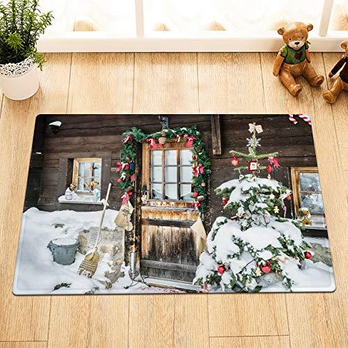 JHTRSJYTJ Chalet rústico Puerta Guirnalda nevado árbol de Navidad Porche Antideslizante,Cocina,Alfombra de baño Decorativa,Lavable de50×80cm,Esencial para el hogar