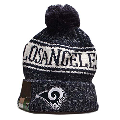 2019 Fans Hats Winter Knit Hat Men Cuffed Beanie Hat Women for Gift Sports Hat Fashion Toque Cap (Los Angeles_Rams-1)