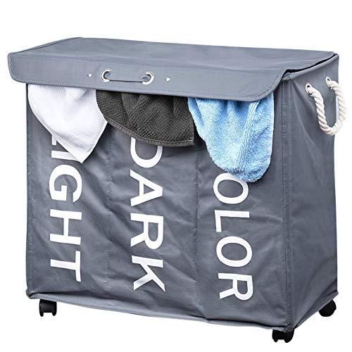 Bakaji wasmand met 3 vakken, stof met wielen en handgrepen, grijs, 63 x 35 x 57 cm, meerkleurig