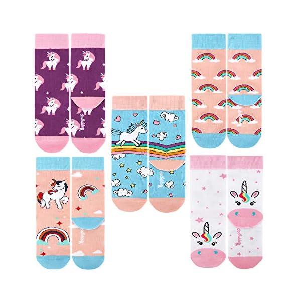 Zmart 5 Pack Girls Novelty Cute Unicorn Socks, Colorful Fun Animal Pattern