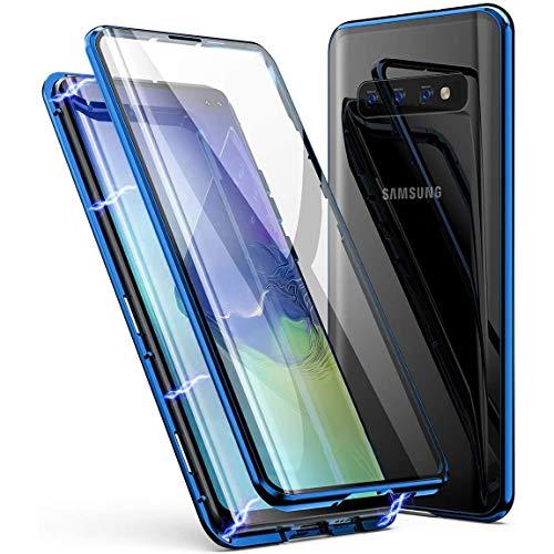 Hülle für Samsung Galaxy S10e Hülle,Magnetische Adsorption Metallrahmen 360 Grad Full Body Handyhülle Vorne hinten Gehärtetes Glas Schutzhülle Einteiliges Ultra Dünn Flip Transparente Cover,Blau