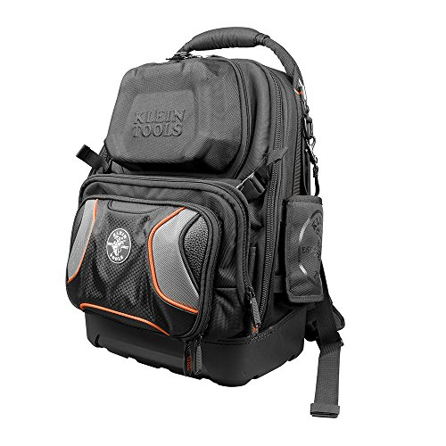 Klein Tools 55485 Tool Bag Backpack, Durable Electrician Backpack with 48 Pockets for Hand Tools, Waterproof Bottom, Removable Tool Carrier
