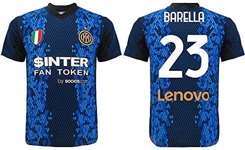 L C Barella Inter Offizielles Trikot 2022 für Erwachsene, Jungen und Kinder, Saison 2021 2022, Home schwarzblau, Nicolò 23, mehrfarbig, XL