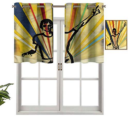 Hiiiman Paneles de cortina con ojales en la parte superior, diseño retro DJ, discoteca, juego de 2, 137 x 60 cm, aislamiento térmico para sala de estar