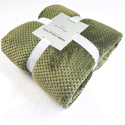 YIIVAN Flanell Decke Weiche Reisedecke Einfarbig Tagesdecke Plüschbezug für Bettsofa, olivgrün, 180cmx200cm