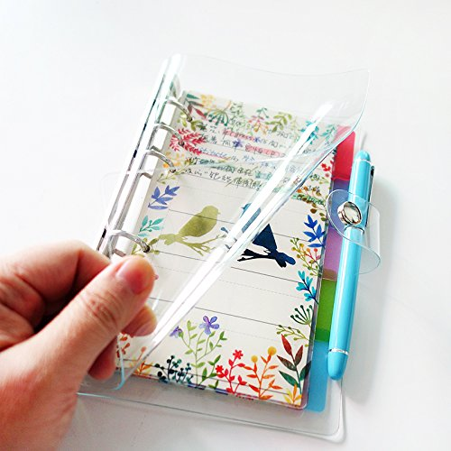 Carpeta de PVC colorida con 6 agujeros A6/ A5 con cierre de botón para hojas sueltas protectores/cuadernos de recambio/bricolaje para álbumes de recortes/encuadernadores, Blanco,...