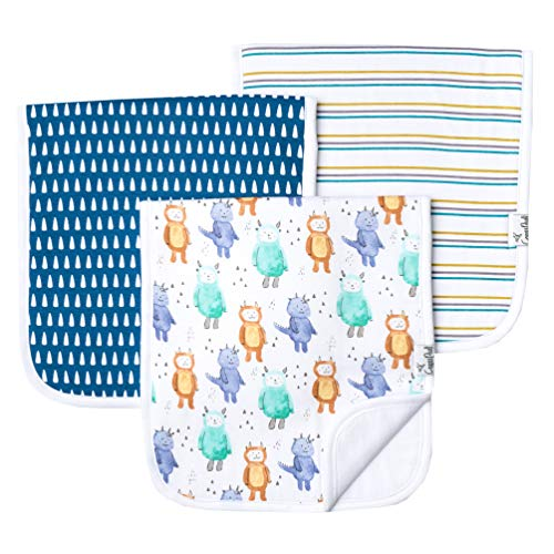 Baby Burp Cloth Large 21x10 Size Premium Absorbent Triple Layer 3 Pack Gift Set
