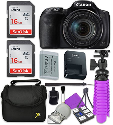 Canon PowerShot SX540 Wi-Fi Digital Camera with 2X Sandisk 16 GB SD Memory Cards + Tripod + Case + Card Reader + Cleaning Kit