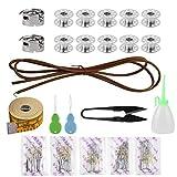 Nsiwem Accesorios para máquina de coser 2 canillero 10 canillas 50 pcs agujas para máquina de coser 1 cinturón con Enhebradores Regla Engrasador Tijeras de costura