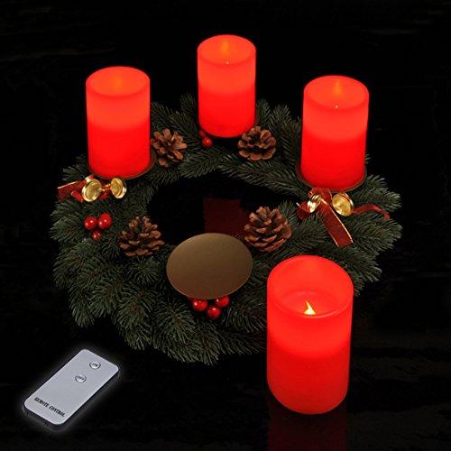 Spetebo LED Adventskerzen 4 Stück mit Fernbedienung in rot Echtwachs Kerzen LED