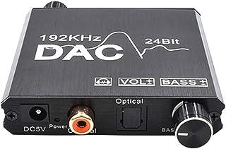 Ajcoflt Conversor de áudio digital para analógico 192 kHz e 24 bits DAC Conversor de entrada coaxial óptica RCA 3,5 mm Ada...