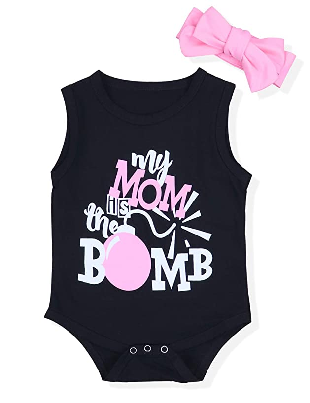 My Mom is The Bomb Infant Baby Girls Sleeveless Rompers Bodysuit Outfits Clothes with Headband