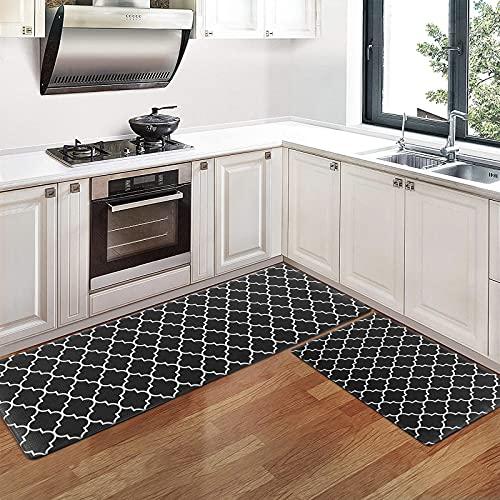 Pauwer Lot de 2 tapis de cuisine anti-fatigue en PVC, antidérapants et imperméables - Tapis de sol rembourrés et confortables - Faciles à nettoyer (44cm x 70cm + 44cm x 120cm)