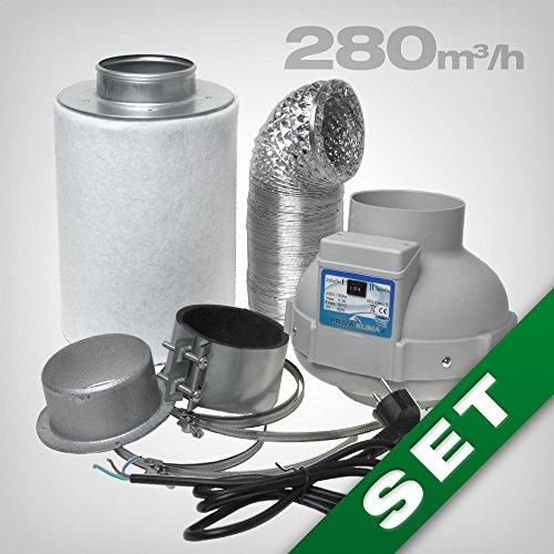 GrowPRO Filtro Carbone Attivo, Set di ventilazione con ventilatore tubo 160/280m³/h per grow box/home box