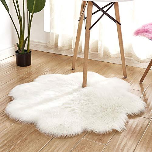 Alfombra de interior súper suave y gruesa para dormitorio, sala de estar, decoración de niños, color blanco, 90 cm