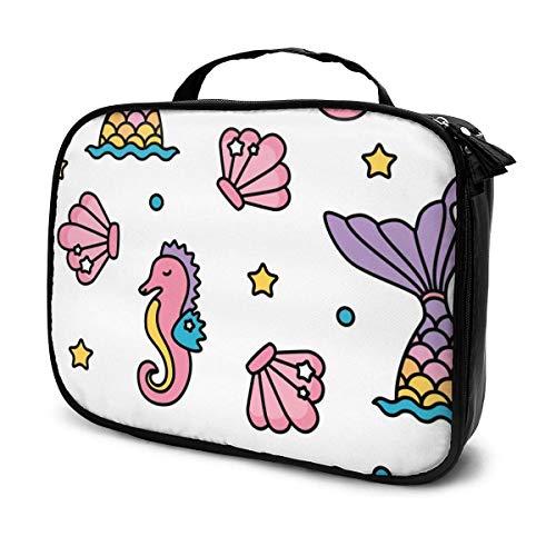 Bolsa de maquillaje portátil con diseño de sirena y caballito de mar, para viaje, para cosméticos, maquillaje, joyas, etc.