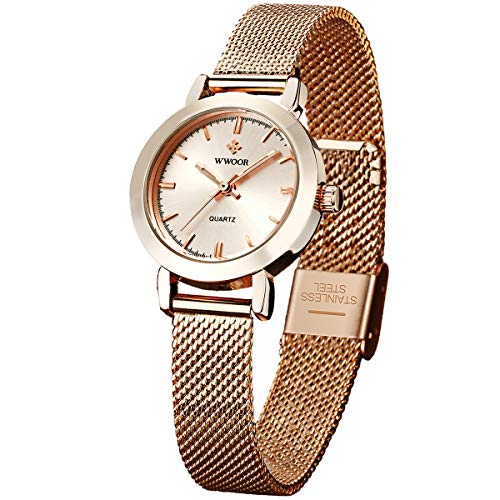 Womens Watches Original Fashion Analog Quartz with Adjustable Steel Mesh Watch Waterproof Tiny Wrists 10-16mm Band
