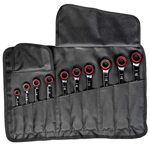 Bosch Professional 10 tlg. Ring Maulschlüssel Satz mit Ratschenfunktion (8-19 mm, Chrom Vanadium Stahl, Transporttasche) - 2