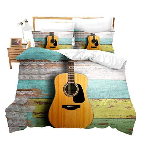Funda de edredón con música para Cama de Matrimonio King para Guitarra acústica Juvenil sobre tablones de Madera Envejecida de es Pintados con diseño rústico,para niños