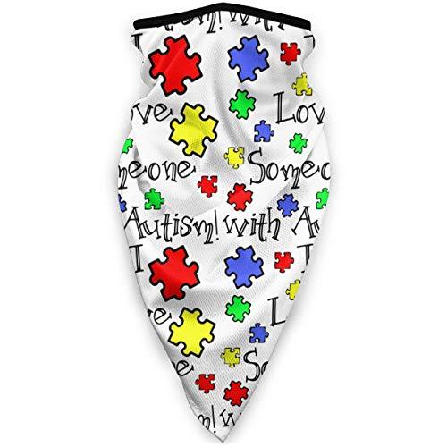 WH-CLA Polaina De Cuello Concienciación sobre El Autismo - Amo A Alguien con Autismo Calentador De Invierno A Prueba De Viento Regalos para Mujeres Al Aire Libre Hermoso Estampado Envoltu