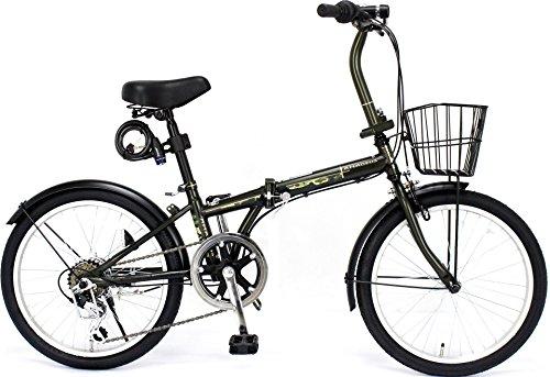 ジェフリーズ 自転車 折りたたみ自転車 20インチ AMADEUS マットグリーン カモ シマノ6段変速 前後泥除け/カゴ/LEDライト/ワイヤーロック標準装備