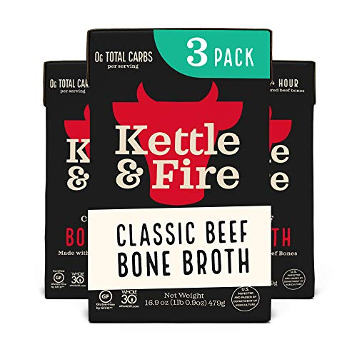Kettle and Fire Classic Beef Bone Broth, Keto, Paleo, and Whole 30 Approved, Gluten Free, High in Protein and Collagen, 3 Pack