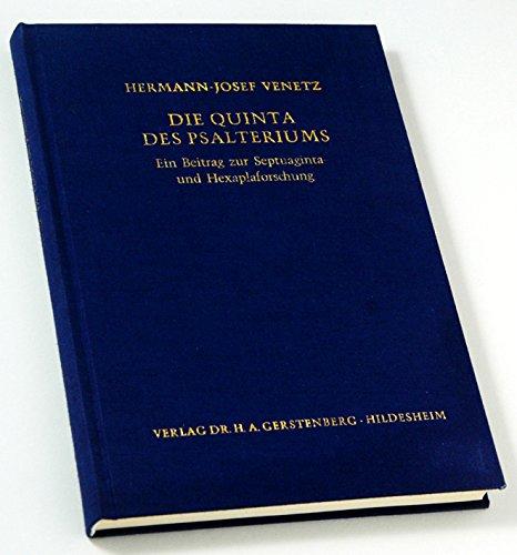 Die Quinta des Psalteriums. Ein Betrag zur Septuaginta- und Hexaplaforschung.