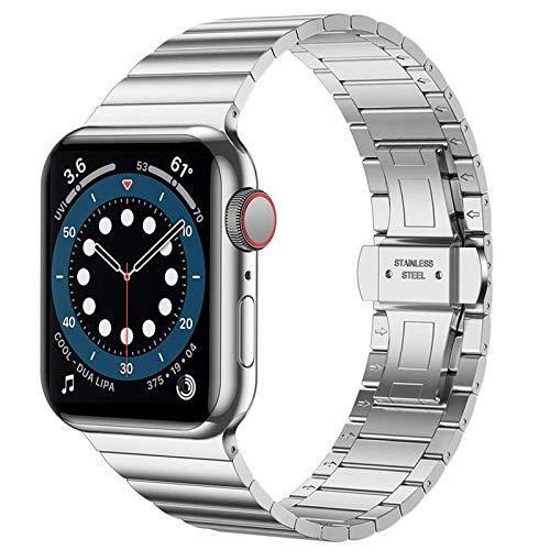 Miimall Bracelet en Acier Inoxydable Compatible avec Apple Watch Série 5 Série 6 Se 40mm,Homme Bracelet de Montre à Maillon avec Fermoir Dépliant pour iWatch Série 1 2 3 4 5 6 40mm 38mm -Argent