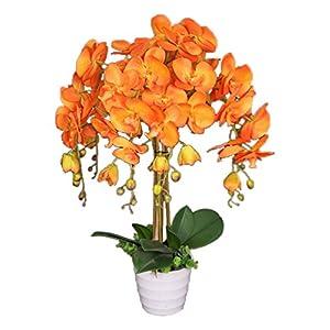 AMERIQUE Unique and Gorgeous Orchid Artificial Silk Flower Plant, 40″, Vivid Orange