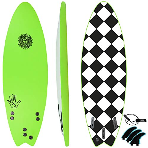 KONA SURF CO. The 5-5 Surfboard for Beginners Kids and Adults - Soft Top Foam Surfboards for Beach – Surf as a Boogie Board Bodyboard or Softboard - Includes Fins and Leash in Purple sz:5ft 5in