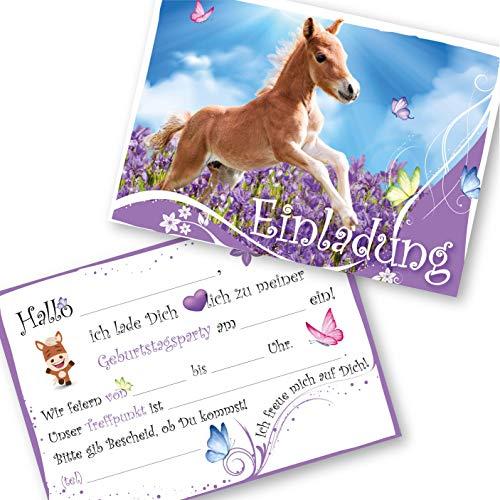 12 Pferde Einladungskarten für Kindergeburtstag Mädchen und Jungen, Die Geburtstageinladung für alle Pferde/Pony begeisterten Kinder (12 Einladungskarten ohne Kuvert)