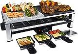 Steba Multi Raclette RC 108 | hochwertige Natursteingrillplatte (25 x 25 cm) | Antihaftbeschichtete Grillplatte | 8 antihaftbeschichtete Pfännchen | 8 Pfännchenablagen | 2,0 m Anschlusskabel, 2000 W