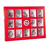 Perfecbuty 15PCS 3D Alambre de Metal Cubo Puzzles de Madera Toys Clásico Educativo Jigsaw IQ Rompecabezas Interbloqueado Juguetes Regalo para Niños y Adultos Ejercicio Capacidad, Navidad, Regalo