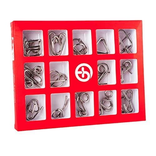 Chonor Mini Denkspiel Knobelspiel Set aus Metall, 15St. Metall-Knobelei IQ Spiele 3D Puzzle Geduldspiele Logikspiele Rätsel Brainteaser Intelligenz Pädagigisches Spielzeug für Kinder und Erwachsene