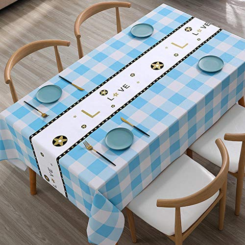 Kuingbhn Mantel para de Cocina Salón Rectangular Grueso y Resistente Al Desgaste Impermeable Lavable Diseño de Comedor Decoración del Hogar Azul y Blanco D 140×220cm