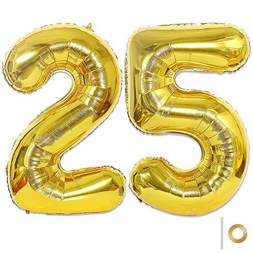Huture 2 Luftballons Zahl 25 Figuren Aufblasbar Helium Folienballon Große Folienmylar Ballons Riesen Gold Ballons 40 Zoll Luftballons Zahl für Geburtstag Party Dekoration Abschlussball XXL 100cm