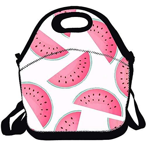 Lunch Box Tote Bento bag impermeabile Anguria rosa Fette senza cuciture con borsa Zippe per uomo Donna Adulti Bambini Ragazze Ragazzi