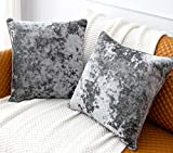 PANDATEX Pack of 2 Luxury Crushed Velvet Grey Throw Pillow Covers for Sofa Couch Chair, 18'x 18' Square Decorative Plush Pillowcases Cushion Cover for Bedroom Livingroom Car