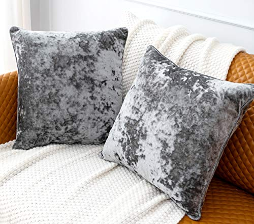 HORIMOTE HOME Pack of 2 Crushed Velvet Grey Square Cushion Covers for Sofa Bed Chair, Decorative Cushions Case Pillow Covers for Livingroom Couch Car 40x40cm