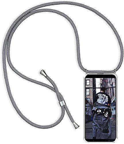 SIMao Funda con Cuerda para OPPO A52 / A72 / A92 Funda con Cadena para Teléfono Móvil con Correa Ajustable Transparente TPU Silicona Carcasa con Collar de Cordón Funda con Cordón de Colgar,Plata