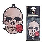 Subito disponibile 3 PEZZI Deodorante per Auto - Teschio con Rosa Rossa - Rosa