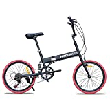 HIKING BK 20-inch Vélo Pliant Amortisseur Off-Road Anti-Pneu VTT Vélo Dame Adultes mâles et Femelles-Noir 152x115cm(60x45inch)