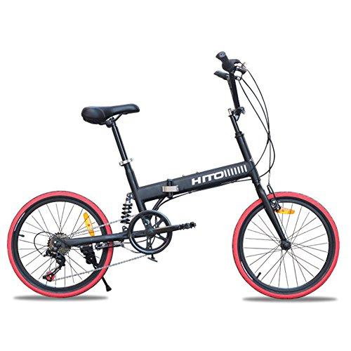 HIKING BK 20 Pulgadas Bicicleta Plegable Amortiguador Off-Road El neumático Bicicleta de montaña Bicicleta de señora Adulta Masculina y Femenina-Negro 152x115cm(60x45inch)