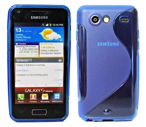 ENERGMiX S-Line TPU SchutzHülle Silikon Hülle Schale Handy Tasche kompatibel mit Samsung Galaxy S Advance i9070 Silikon Hülle in Blau