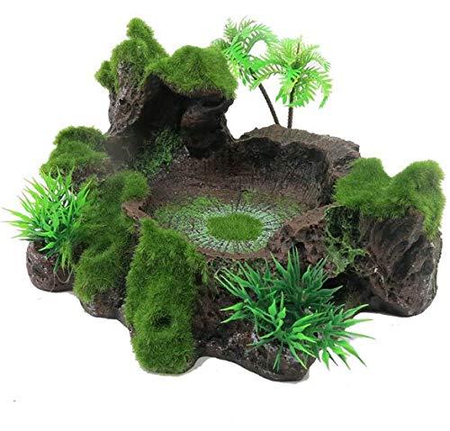 I3C Künstlicher Baumstamm Terrarium Habitat für Reptilien, Dekoration Aquarium Fischtank mit künstlichem Moos, Plattform für Reptilien, Frosch, Schildkröte, Eidechse, Schlange Gecko