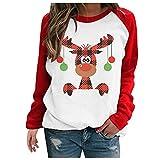 YSWD Ladies T-Shirts Pullover Christmas Print Round Neck Long Sleeve Tops Stitching Round Neck Sweatershirt